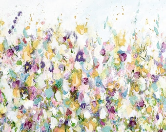 Large Abstract Floral Meadow Canvas Print Giclee Wall Art, Canvas Print from Painting, White Blue Pink Green Yellow Flower Abstract Print