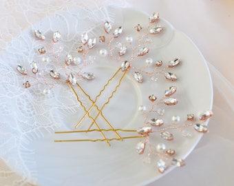 Rhinestone hair Pins, Bridal hair Pins, Pearl Hair Pins, Pearl Hair Piece, Rose Gold Hair Pins, Rose Gold Headpiece, Crystal Hair pins
