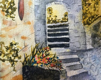 Fine Art Watercolor Painting, Village Courtyard Provence France, French Countryside, Office Decor, Kitchen Decor, Italian Art Home Decor
