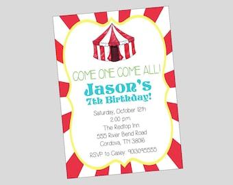 Circus Birthday Invitation // Carnival Invitation // Printed or Printable