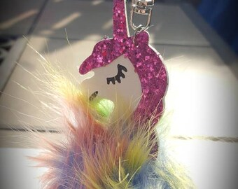 Unicorn pom pom colorful keychain