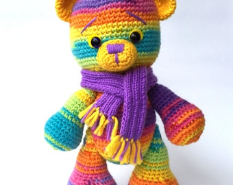 Crochet Teddy Bear, Amigurumi Teddy Bear, Crochet Rainbow Teddy Bear, Crochet Plush Teddy Bear