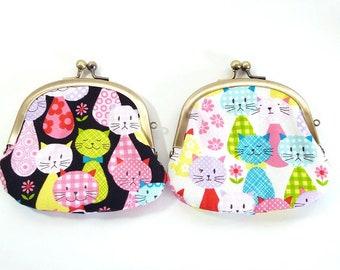 colorful cats, metal frame purse, kiss lock purse