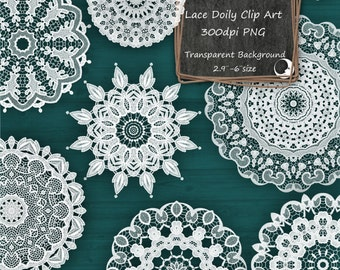 12 Lace Doilies Digital Clip Art Transparent Overlay White - Instant Download - Commercial Use 00011