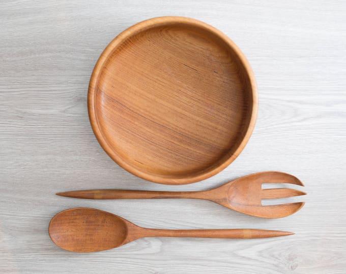 Teak Salad Bowl and Tongs / Vintage Solid Exotic Wood Food Safe Serving Appetizer Dish Platter / Hand Carved Hardwood / Danish Modern Nordic