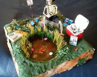 Skeleton Fishing Pond Diorama