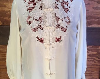 1960s Vintage Hand Embroidered 100% Silk Blouse