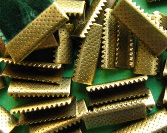 500 pieces 16mm No Loop Ribbon Clamps -- Antique Bronze
