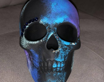 Hand painted Matte Skull with Swarovski Crystal Accents