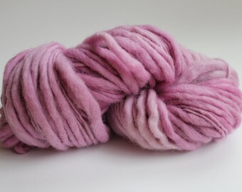 Pink Hand Spun Hand Dyed Thick and Thin Chunky Wool Yarn