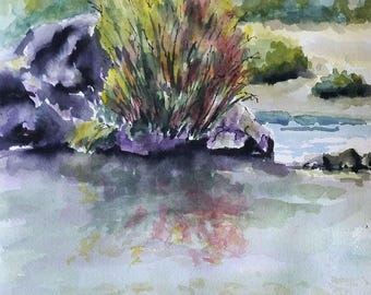 "Cottonwoods by the River - original watercolor painting 9"" x 12"""