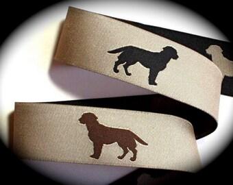 "Woven Ribbon Labrador Retrievers - Brown and Black Labs  - 1"""