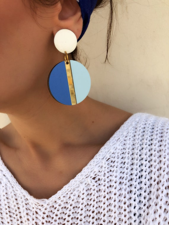 Round Earrings, Disc Earrings, Ethnic Earrings, Circle Earrings, Summer Earrings, Clip On Earrings, Made In Greece. by Etsy