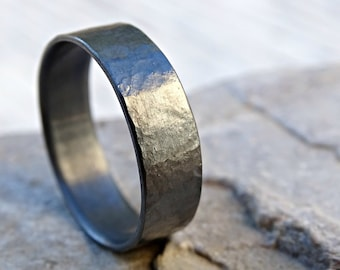 black silver wedding ring, unique mens wedding band silver, ring silky surface, mens promise ring handforged, silver mens ring used look