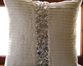 Decorative Throw Bed Euro Shams Euro Sham Couch 26 x 26 White Silk Euro Sham Crystal Embroidered Bedding Housewares - Precious Crystals
