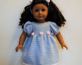 Instant Download - PDF Crochet Pattern - American Girl Doll Clothes 32 - Dress and Hat with Roses