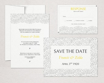 Printable Wedding Suite Download 'Fountain' // DIY TEMPLATE // Word Mac or PC // 5 x 7 // Change artwork colour // Luxury Design