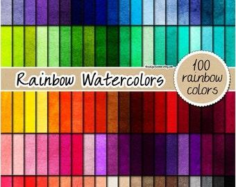 SALE 100 watercolor digital paper painted digital paper textured digital paper rainbow watercolor print 12x12 pastel neutral bright dark