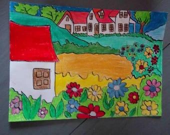 paisaje, dibujo en color