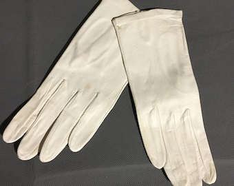 Vintage White Italian Soft Leather Gloves Size 7