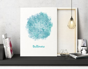Baltimore MD Watercolor Map Baltimore Maryland map Baltimore Maryland wall art Baltimore MD city map Baltimore art print circle map