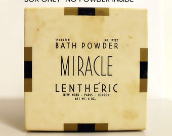 Vintage 1940s Miracle by Lentheric 6 oz Perfumed Bath Dusting Powder Empty Box No Bottle