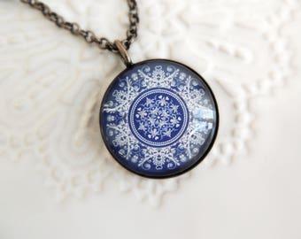Healing Necklace Portuguese Jewelry PORTUGUESE MANDALA Necklace Blue Necklace Jewelry with Meaning Healing Jewelry Mandala Jewelry