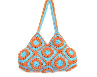 Flower crochet purse orange crochet bag floral shoulder bag boho hippie purse summer shoulder bag crochet tote  turquoise purse bohemian bag