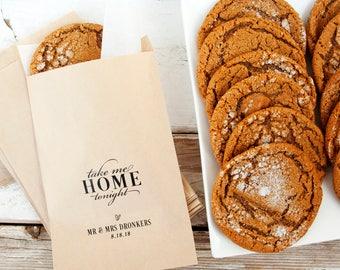 Wedding Favor Bag - Personalized Wedding Favor Bag - Cookie Bag - Take me Home Tonight - Candy Favor Bags - Flat Kraft Bags - 20 Paper Bags