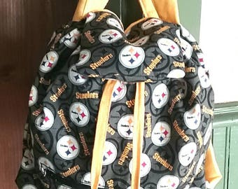 Pittsburgh Steelers Football Backpack or Purse. Drawstring Main Body, Padded Straps and Bonus Pocket!
