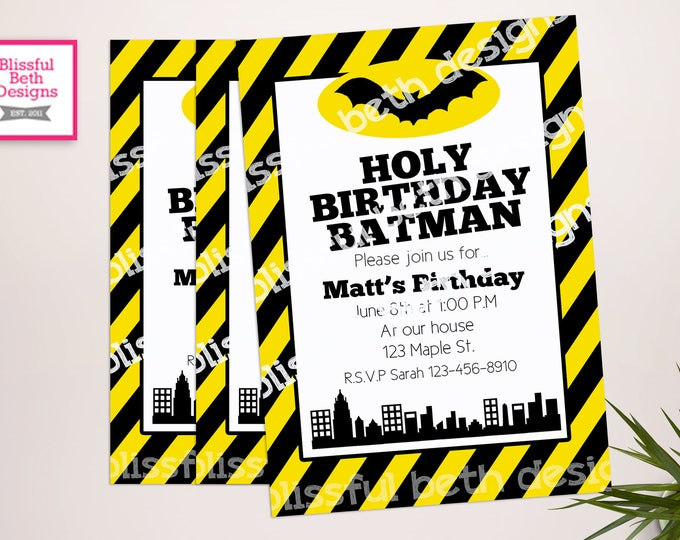 BATMAN BIRTHDAY INVITATION, Striped Batman Birthday Invitation, Printable Batman Invitation, Personalized Batman, Striped Batman, Bat Invite