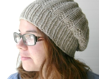 Slouch Knit Hat, City Fall Fashion, Creamy Oat