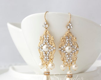 Gold Bridal Earrings Chandelier Wedding Earrings Filigree Pearl Dangle Wedding Jewelry YASMIN
