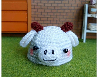 """Doll Hat for Lati White & Petite Blythe : """"Cow Hat"""" (Crochet Hat)"""