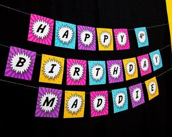 Girls Superhero Banner - Pink Superhero Birthday Banner - Comic Book Party Banner Printable Banner by Printable Studio