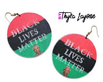 Black Lives Matter Mandela earrings - Afro earrings - earrings Black Lives Matter Mandela