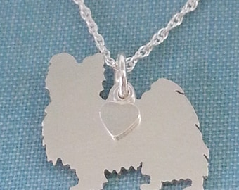 Papillion Dog Necklace, Sterling Silver Personalize Pendant, Breed Silhouette Charm, Rescue Shelter