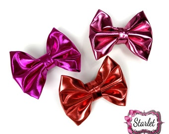 """3 1/2"""" Synthetic Leather Bow with Clip, Pick Color, Red Bow, Rose Pink Bow, Stiff Leather Bow"""
