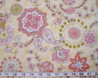Timeless Treasures Quilting Fabric Pink and Yellow Paisley Print Sold by the HALF Yard