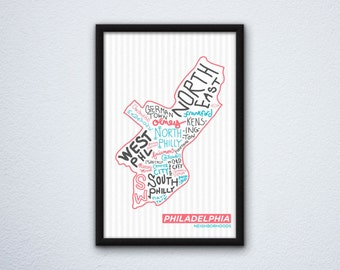 Philadelphia Neighborhoods Map Poster featuring North Philly, the Northeast, Manayunk, Old City, Rittenhouse, Fishtown, & more!