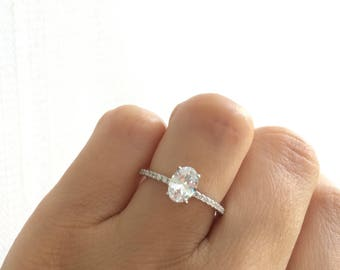 Oval Engagement Ring. Oval Accented Solitaire Ring. High Quality Sterling Silver Engagement Ring. Silver Rhodium Plated Wedding Ring.