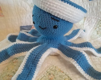 Crochet Blue and White Stuffed Octopus with Removable Hat and Rattle Inside Inexpensive Birthday Present or Baby Shower Gift Free Shipping
