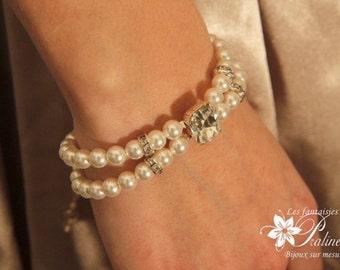 Bracelet de mariage vintage rétro perles et cabochon en cristal, bracelet mariée deux rangs, accessoires mariée - Bridal rhinestone bracelet