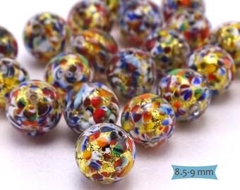 Venetian Glass Mosaic Gold Foil Beads--1 Pc | 31-KLM101-1