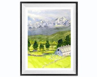 Farmhouse wall art, Barn Art, Barn Painting, Original Painting, Landscape painting, Mountain landscape, lime green, white, Old Barn, Barn