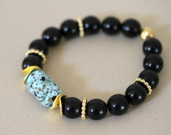 Black, Turquoise and Gold Stretch Bracelet, Black and Blue Bracelet, Onyx Bracelet