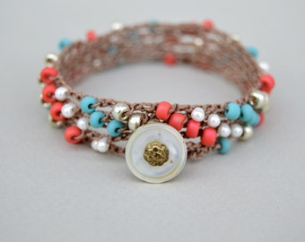 Boho Crochet Wrap Bracelet .Turquoise . Coral . Pearl . Glass Beads . Antique Mother Of Pearl Button. 5 Times Wrap