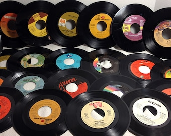 Vintage Vinyl Records - 25 count - Craft Art Supply - 7 inch 45 rpm craft records