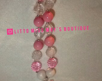 Girl's accessories Barbie Necklace Rhinestone Bling Pink White ClearNecklace Kids Jewelry