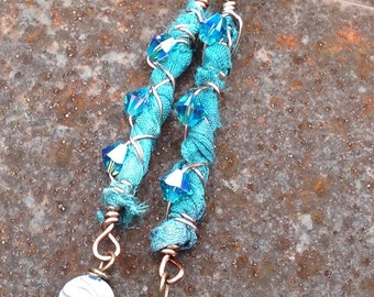 Abalone and Teal Silk Sari Ribbon Boho Dangles  Hand forged Ear Wires Textile Jewelry  Crystal  originally 48 dollars now 24 summer sale